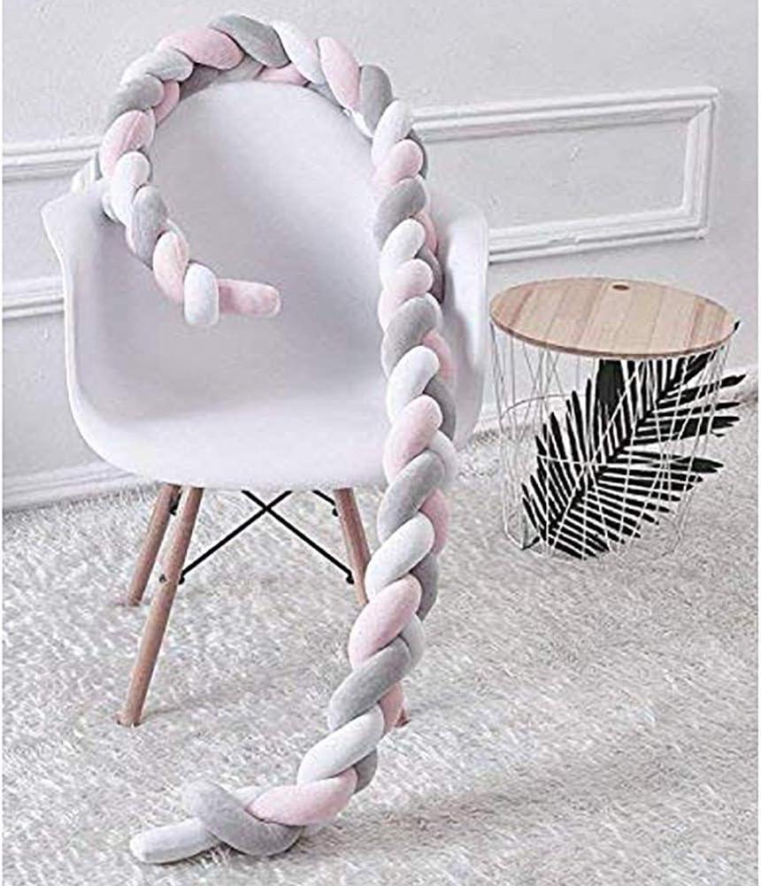 MCKOD Barri/ère de s/écurit/é lit b/éb/é Pare-Chocs de Poussette B/éb/é Coussin Serpent Coussin Tress/é Pare-Chocs Chambre de b/éb/é D/écoration Color : White+Blue+Gray, Size : 100cm