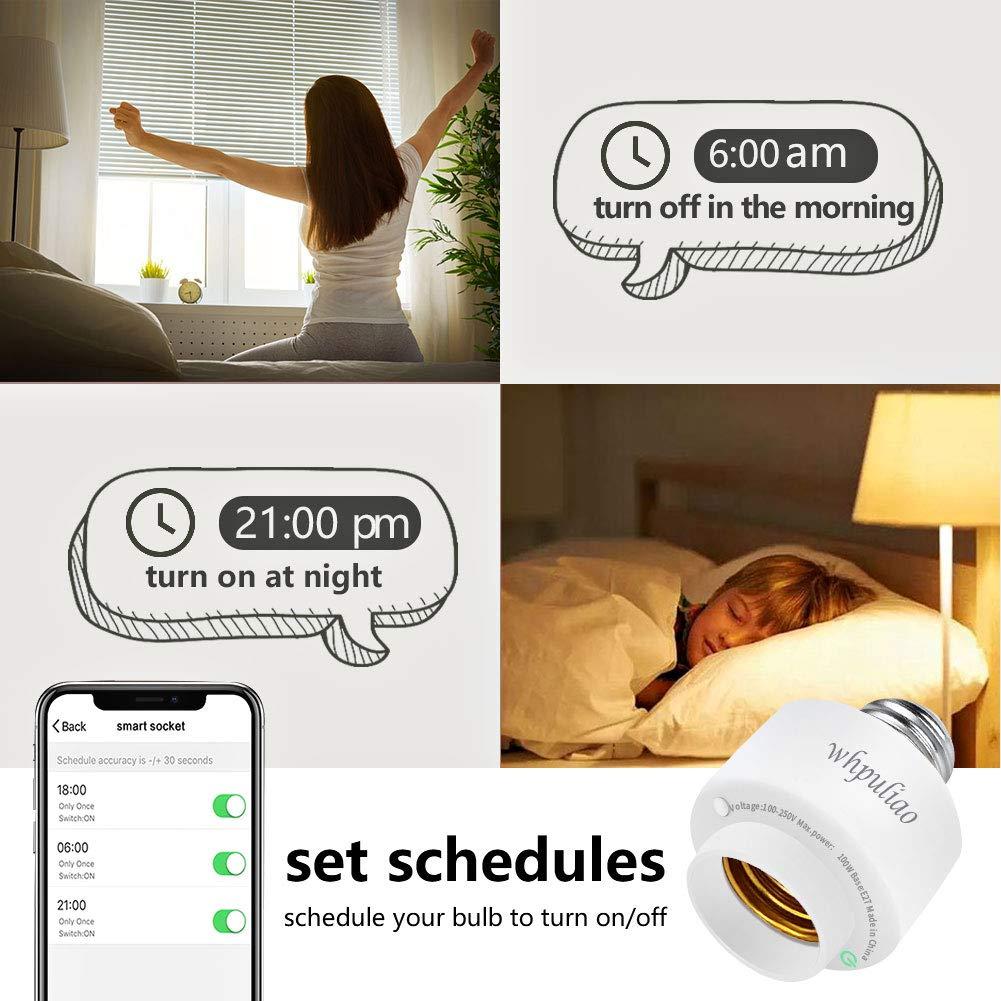 Intelligent Portalampada Controllo Vocale Pianificazioni Timer Smart Telecomando Lampadine Socket Funziona con Alexa e Google Assistant Smart Socket E27 WiFi Adattatore Lampadina