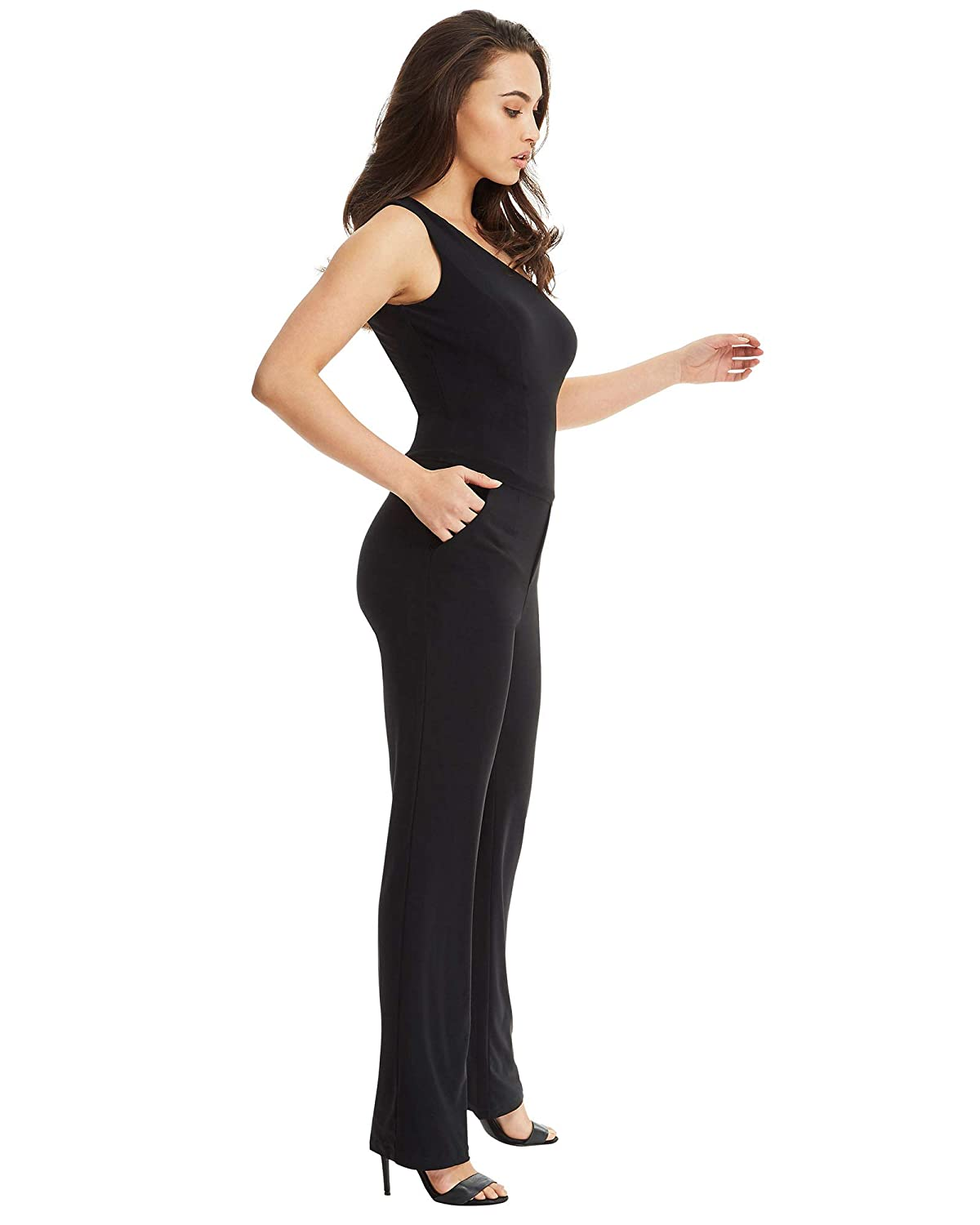 e31e4fe5c2e5 SKIVA One Shoulder Jumpsuit - Black  Amazon.com.au  Fashion