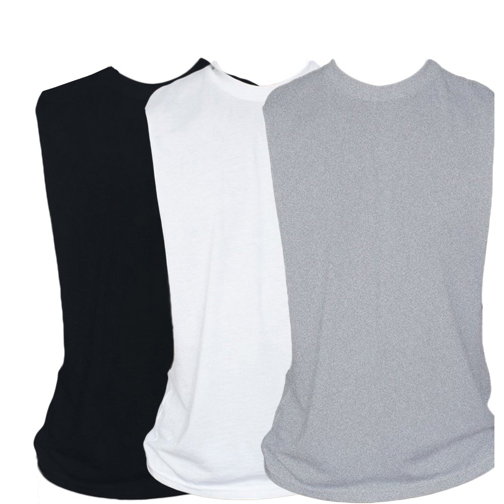 ZUEVI Men's Muscular Cut Open Sides Bodybuilding Tank Top Pack of 3(Black&White&Gray-S0)