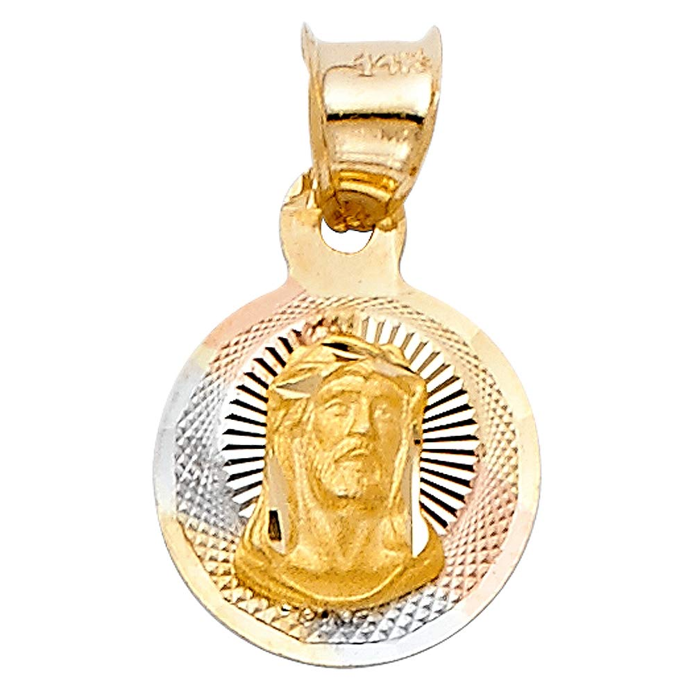 Wellingsale 14K Tri 3 Color Gold Polished Diamond Cut Religious Jesus Charm Pendant