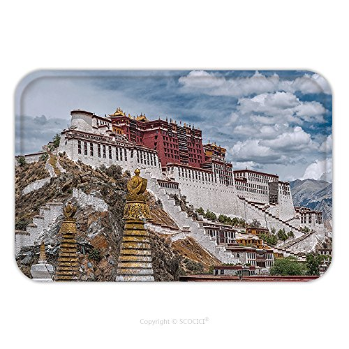 Flannel Microfiber Non-slip Rubber Backing Soft Absorbent Doormat Mat Rug Carpet Tibet Potala Palace With Stupa Spires In Foreground Hdr Image 181519304 for Indoor/Outdoor/Bathroom/Kitchen/Workstation