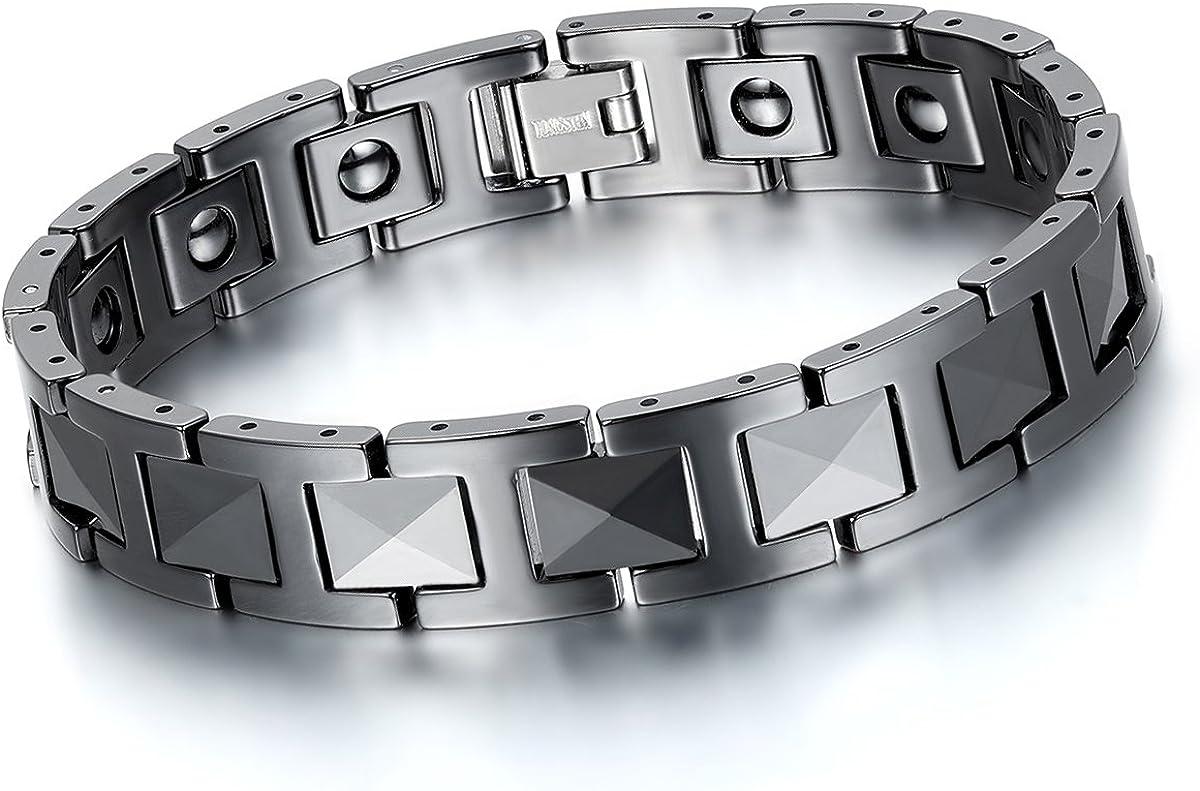 "Cupimatch Mens Luxury Black Ceramic Bracelet Magnetic Stone Link Wrist, 8.3"""