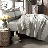 Lush Decor Berlin Stripe 3-Piece Quilt Set, Full/Queen, Taupe