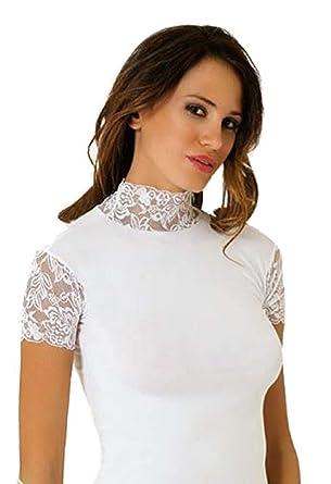 9127ef5e1140 Damen Top Shirt T-Shirt - mit Spitze und Stehkragen - Kurzarm - Baumwolle (
