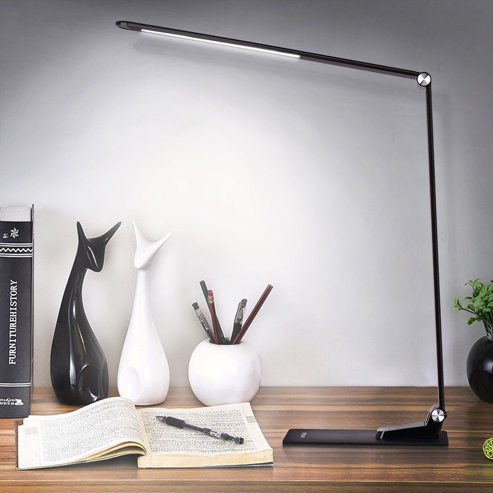 LED Desk Lamp with USB Charging Port, Dimmable Ultrathin Metal Table Lamp with Clamp, 2 in 1 Adjustable Reading Light with Touch Control & Timer for Bedroom/Office/Living room/Study, Back to School by ACG-INC (Image #8)