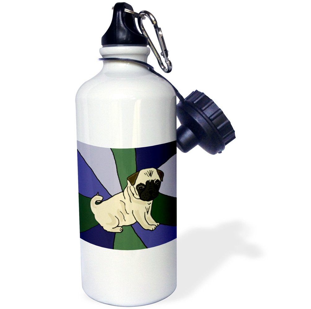 21oz wb/_195226/_1 3dRose Funny Pug Puppy Dog Art-Sports Water Bottle 21 oz Multicolor