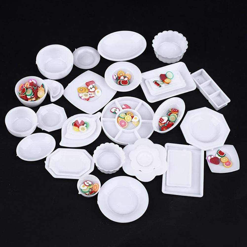 Anniston Dollhouse Furniture, 33Pcs 1:12 Dollhouse Miniature Kitchen Tableware Plastic Mini Plate Dishes Set House Playset Set for Toddlers Girls and Boys