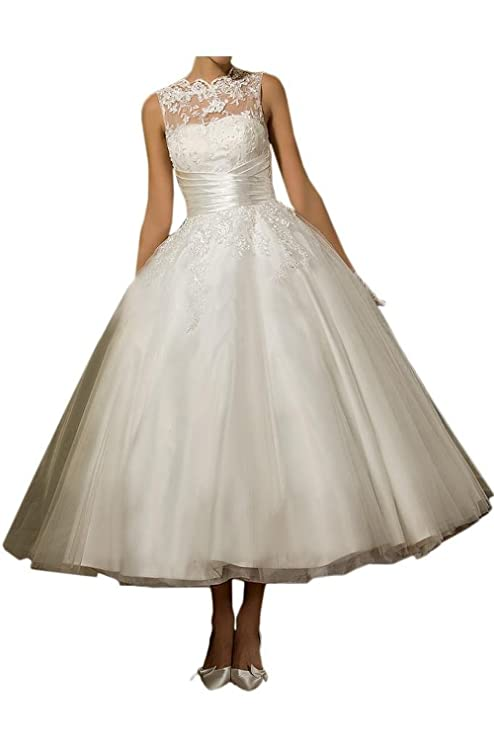 Vintage Style Wedding Dresses, Vintage Inspired Wedding Gowns VEPYCLY Womens Lace Scoop Sleeveless Tea Length Tulle Bride Ball Gown Wedding Dresses $79.00 AT vintagedancer.com