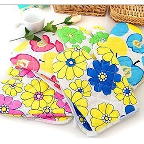 ️ Yu2d ❤️❤️ ️Cooking Cotton Microwave Oven Gloves Mitts Pot Pad Heat Proof Protected by ❤️ Yu2d ❤️_ Home & Kitchen (Image #3)