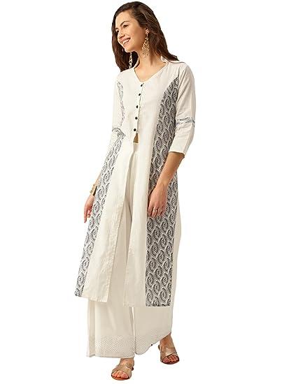2b7c29e0c89 Amazon.com  Jaipur Kurti Women Printed A-Line Kurta (White)  Clothing