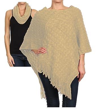 77b0d035c Basico Women's Long Knitted Fringe Trim Sweater Poncho Cape Shawl Wrap One  Size #571 (Ivory) at Amazon Women's Clothing store: