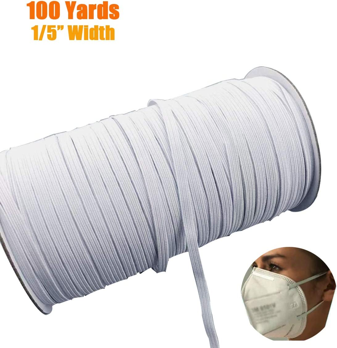 MYUREN 200 Yards Length 1//8 Inch Width Braided Elastic Band White Elastic Cord Heavy Stretch High Elasticity Knit Elastic Band for Sewing Crafts DIY Bedspread Cuff Mask