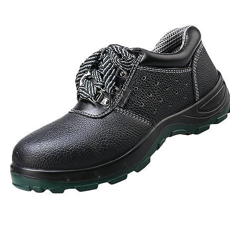 NiSeng Hombres invierno zapatos con cordones zapatos laborales calzado seguridad comodo botas # Negro 37