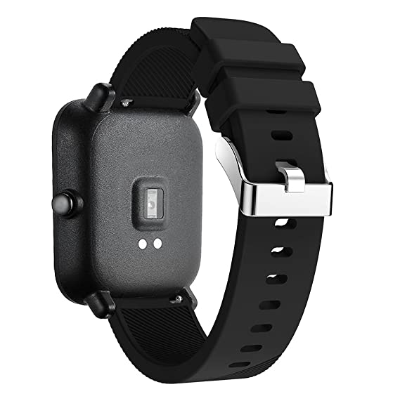 Silicone Strap Sports Band Xiaomi Huami Amazfit Bip Youth Smart Watch Band Replacement Bracelet Wrist Band Watch Strap (Black)