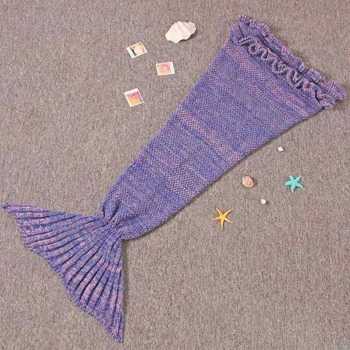 "Renoliss Girls Crochet Mermaid Tail Blanket Knitting Sleeping Bag Handcraft for Kids, All Seasons Sleeping Bag Blanket , 140cmX70cm(55.1""x27.6"")(Purple)"