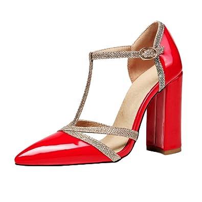 Smilice Damen Fashion Closed Toe Sandalen mit Blockabsatz