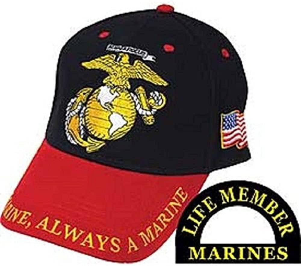 AES Marines Marine USMC Red and Black Once A Marine Always a Marine Cap Hat Marines
