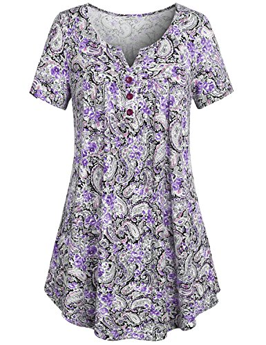 SeSe Code Petite Tops, Women's Crewneck Button-up Ruched Short Sleeve Tunic Shirt Dress X Large Purple V Neck Vintage Blusas Notch Neck Blouse - Empire Waist Sweater