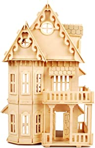 "NWFashion Children's 17"" Wooden 6 Rooms DIY Kits Assemble Miniature Doll House (Gothic)"
