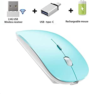 AI DAMI Slim Rechargeable Wireless Mouse, Wireless Mouse for Laptop Computer Mac Desktop Notebook PC,2.4G Wireless Mouse (Blue)