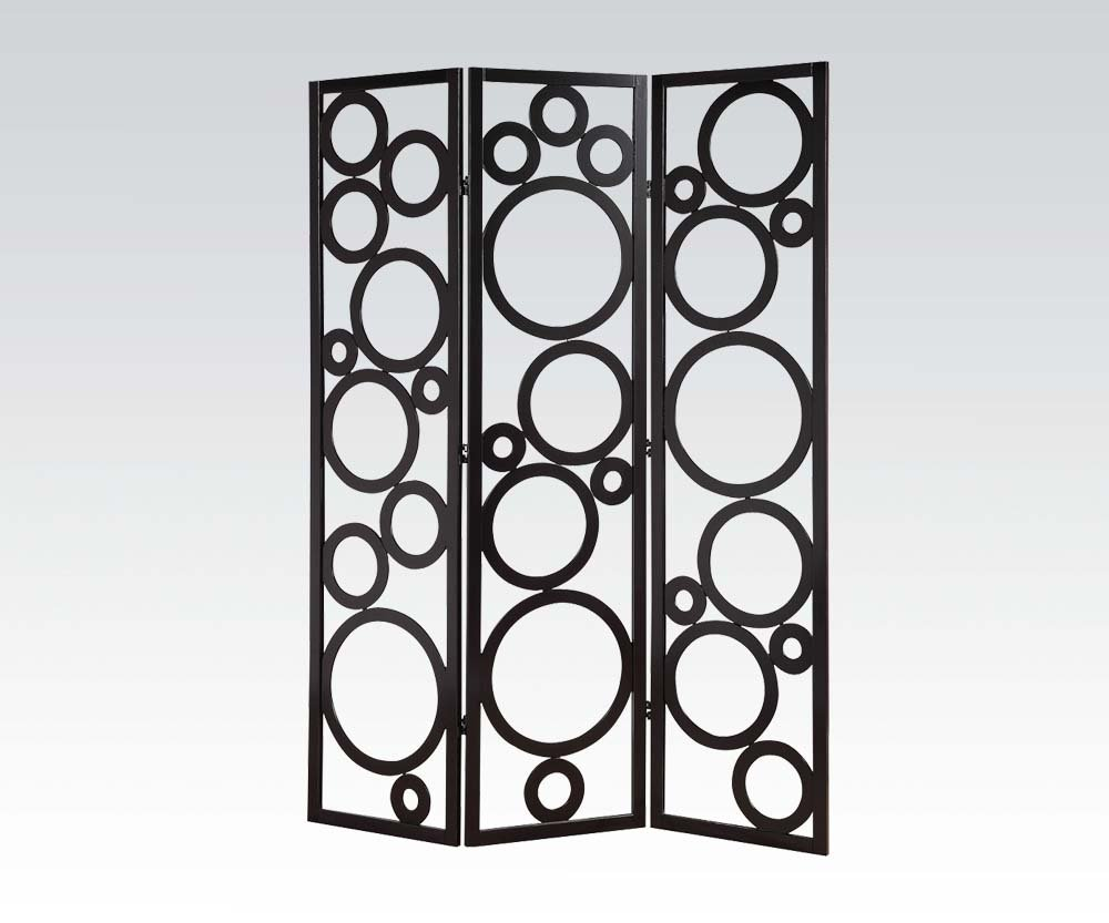 Brand New Trudy (18''x3) x70''H Scenery Design 3-panels Wooden Screen Room Divider- Black Finish
