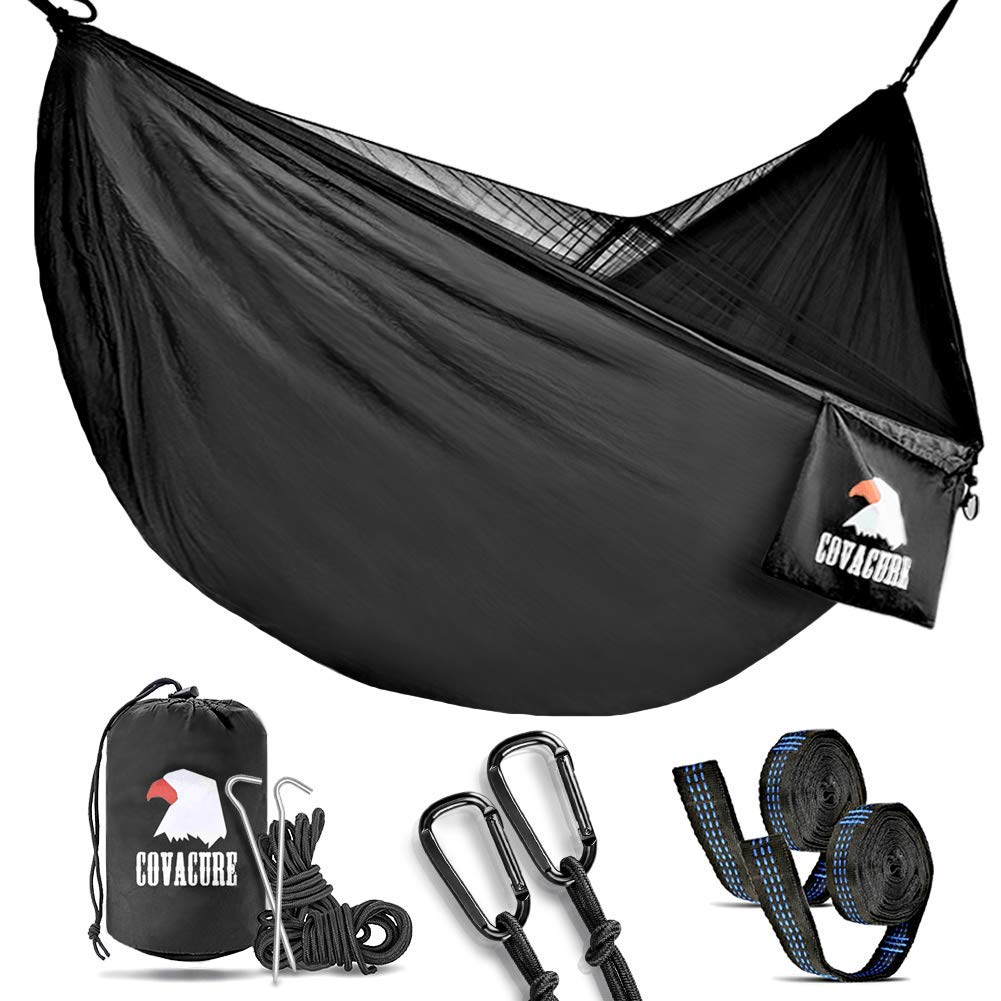 Covacure Camping Hammock with Mosquito Net - Lightweight Double Hammock,Hold Up to 772lbs,Portable Hammocks for Indoor,Outdoor, Hiking, Camping, Backpacking, Travel, Backyard, Beach by Covacure