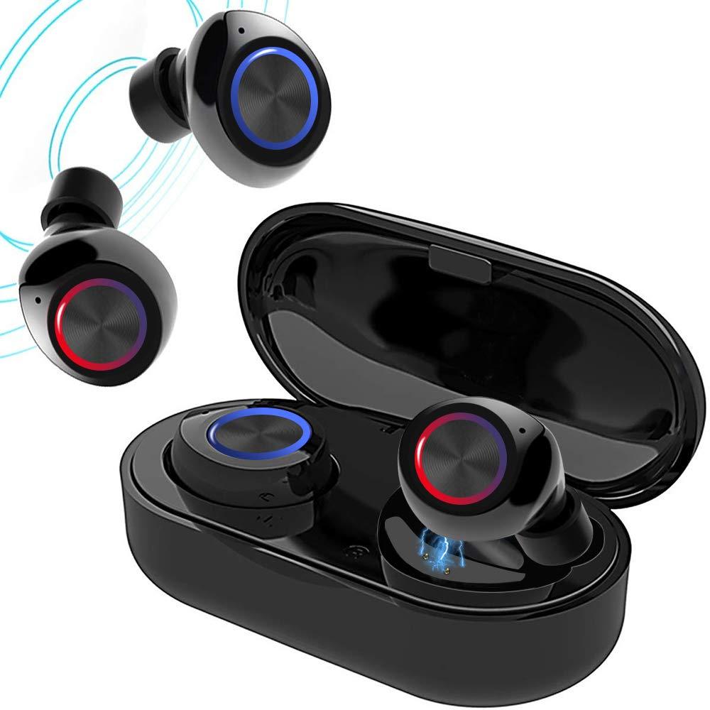 True Wireless V5.0 Bluetooth Earbuds,Waterpoof LED Sports in-Ear Headphones, HD Sound Earphone with Charging Case Black
