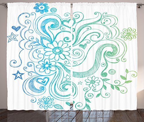 Flowers Curtains by Ambesonne, Rainbow Colored Ombre Sket...