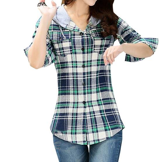 7cb9bcfd7d Frühling und Herbst Damen Hemden mit Kapuzen Casual Langarmshirts Oberteile  Bluse Kapuzenpullover Mode Slim Kariert Hoodie