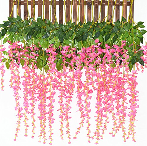 - Artiflr 8pcs Artificial Fake Wisteria Vine Garland 3.6feet/Piece Silk Wisteria Vine Ratta Hanging Flower for Home Garden Wedding Decor (Pick)