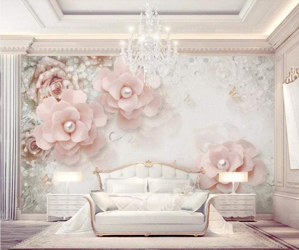 Amazon Com Photo Wallpaper 3d Modern European Style Beautiful Pink Pearl Flower Living Room Tv Background Wall Decor Painting Mural Wallpaper For Bedroom 150x105cm L Kitchen Dining