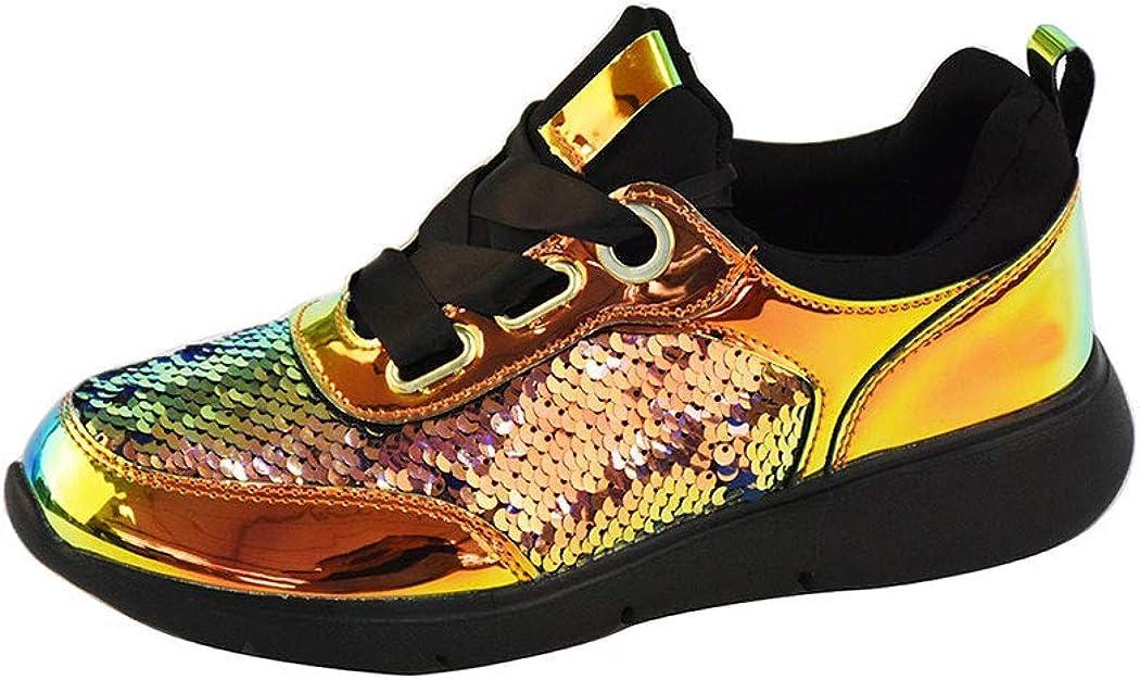 LUCKY STEP Womens Lightweigth Platform Sequin Walking Sneakers,Metallic PU Sequins Iridescent Lace up Shoes