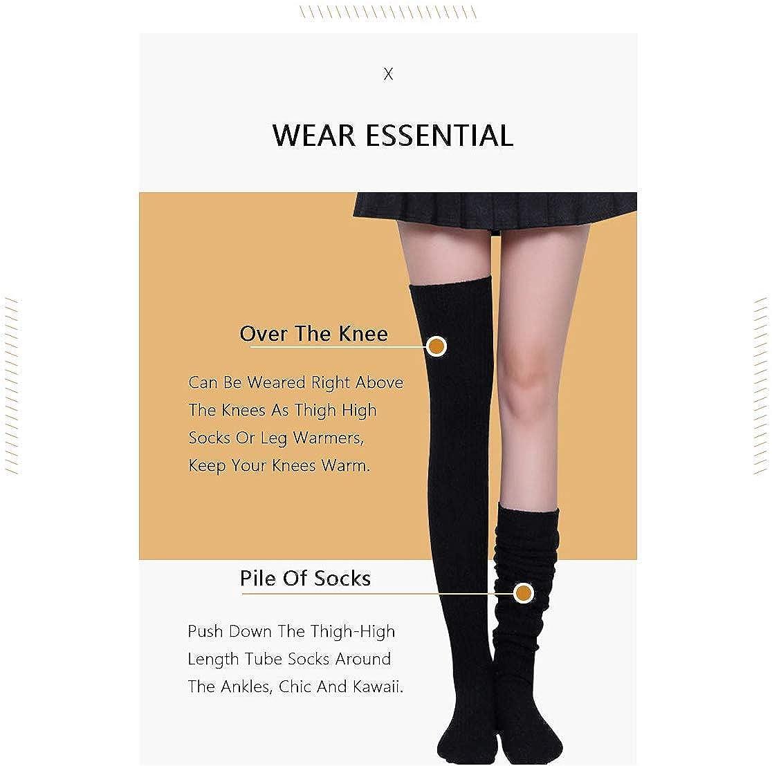 scaldamuscoli mimetici militari di moda honey dog Calze lunghe sopra al ginocchio comode per la scuola//college morbide