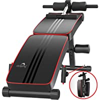 Dolphy Foldable Sit Up Bench for Abs Exercises Home Gym (Standard,Red and Black)