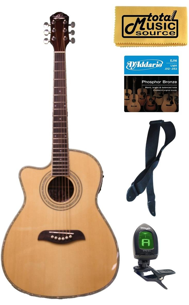 Oscar Schmidt Left Hand 3/4 Acoustic/Electric Guitar, Lefty,Bundle OG1CELH OG1CELH PACK