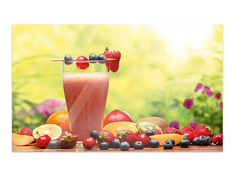 GRAZDesign Bilder auf Glas Smoothie - Wandbilder Glas Sommer - Glasbilder Beeren für Küche Bars Cafe Wohnzimmer / 60x40cm / 100952_60x40_GP