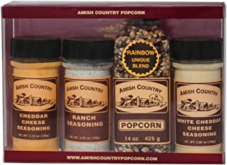 product image for Amish Country Popcorn | Variety Bundles - 14 Oz Rainbow Kernels, White Cheddar Cheese, Cheddar Cheese, & Ranch Seasonings | Old Fashioned with Recipe Guide