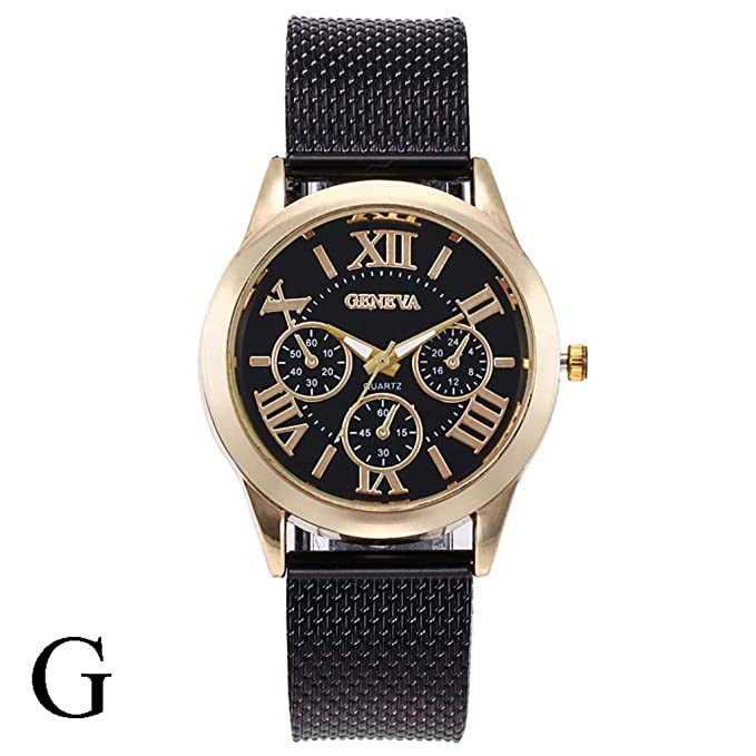 Luxury Quartz Watch Three Eye Roman Scale Dial Casual Silicone Strap ...