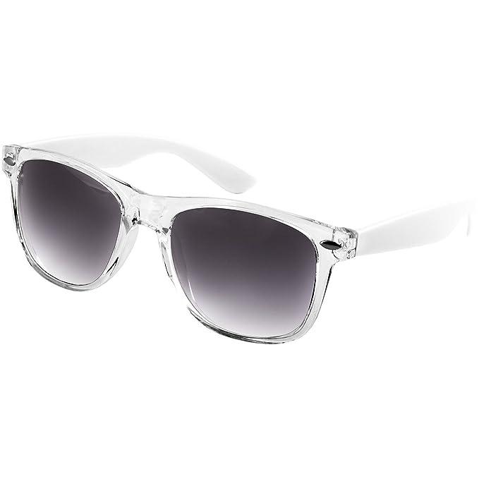 Caspar SG017 Gafas de Sol Retro Unisex - Varios Colores, Color:blanco/negro tintado