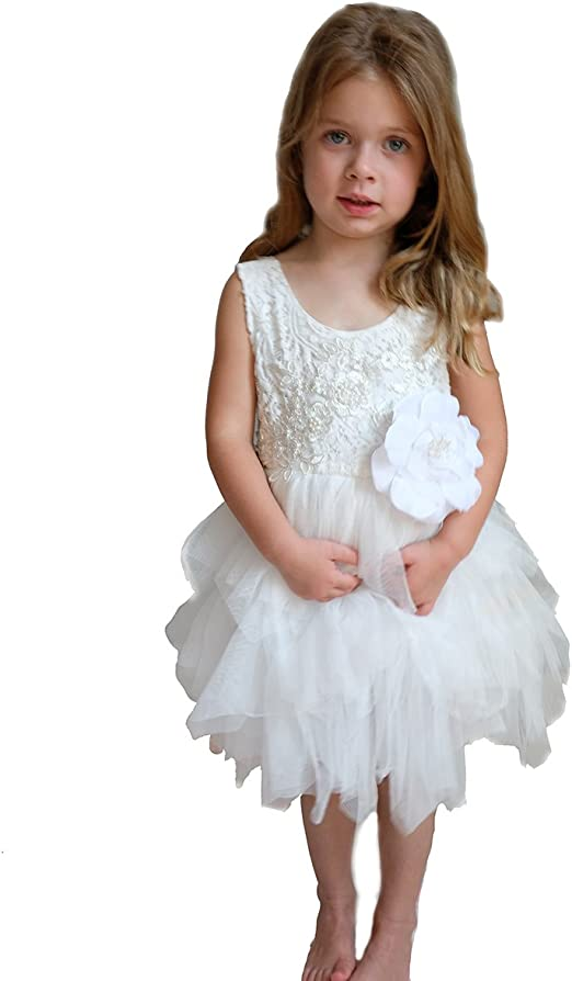 best quality get cheap premium selection Wedding Flower Girl Dress for Toddler - Lace with Pink or White Tutu - Plus  Bonus White Flower Value Set