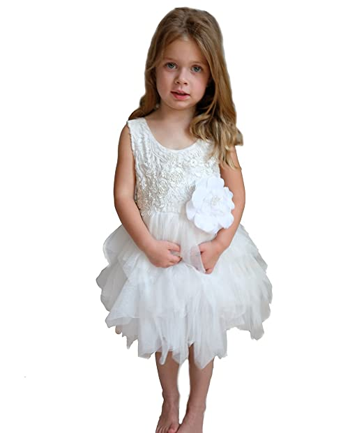 Wedding Flower Girl Dress For Toddler Lace With Pink Or White Tutu Plus Bonus White Flower Value Set