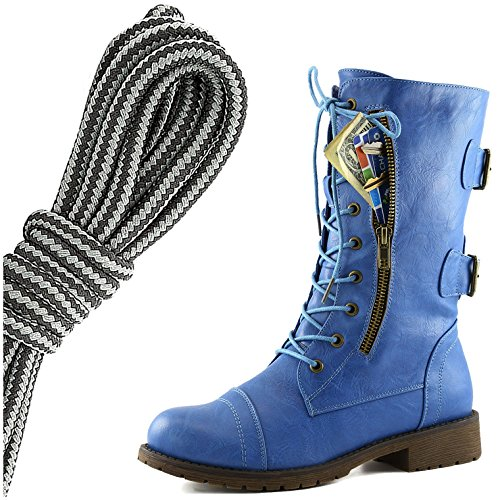 DailyShoes Womens Military Lace Up Buckle Combat Boots Mid Knee High Exclusive Credit Card Pocket, Black Dark Grey Blue Skies