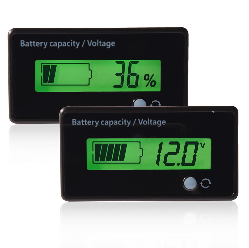 Fosa Green Backlit LCD Display Battery Capacity Voltage Meter Tester Voltmeter Monitor