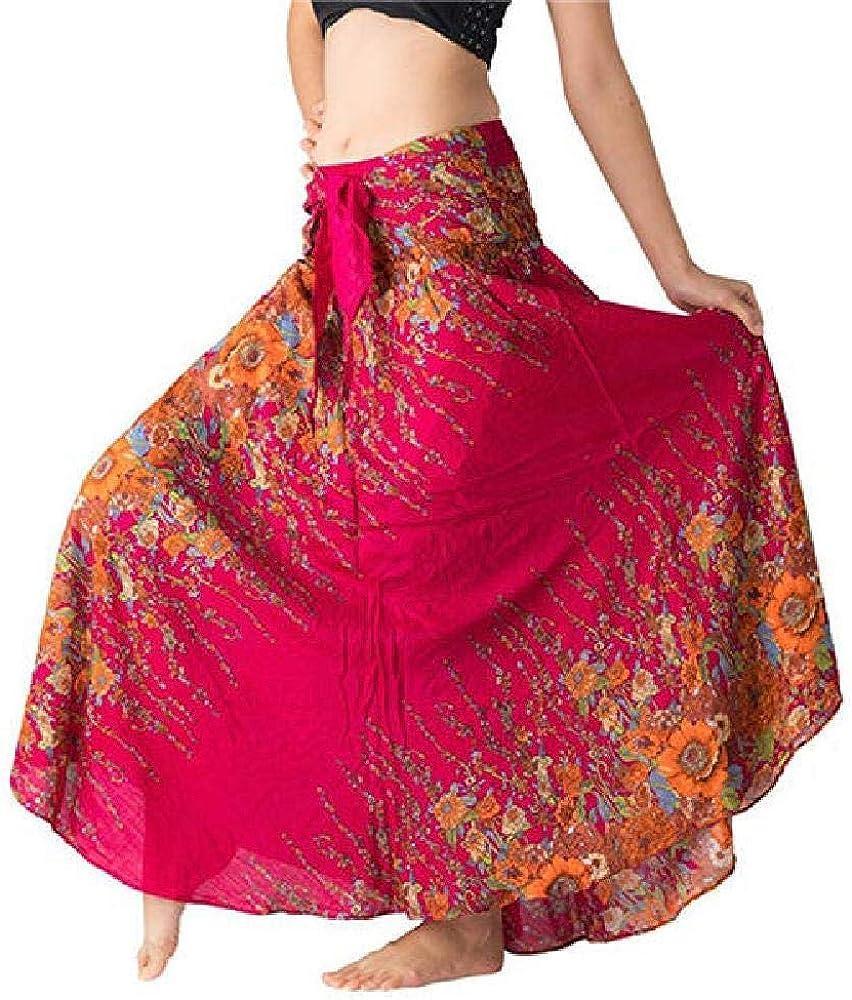 Falda más vendida Falda étnica con Forma de Campana de Playa Hippie Largo Gitano Boho Flores Boho Cintura elástica Halter Floral