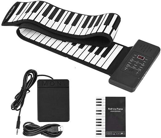 InLoveArts Teclado de piano electrónico de 88 teclas, piano enrollable suave y plegable portátil, instrumento de música digital, instrumentos ...