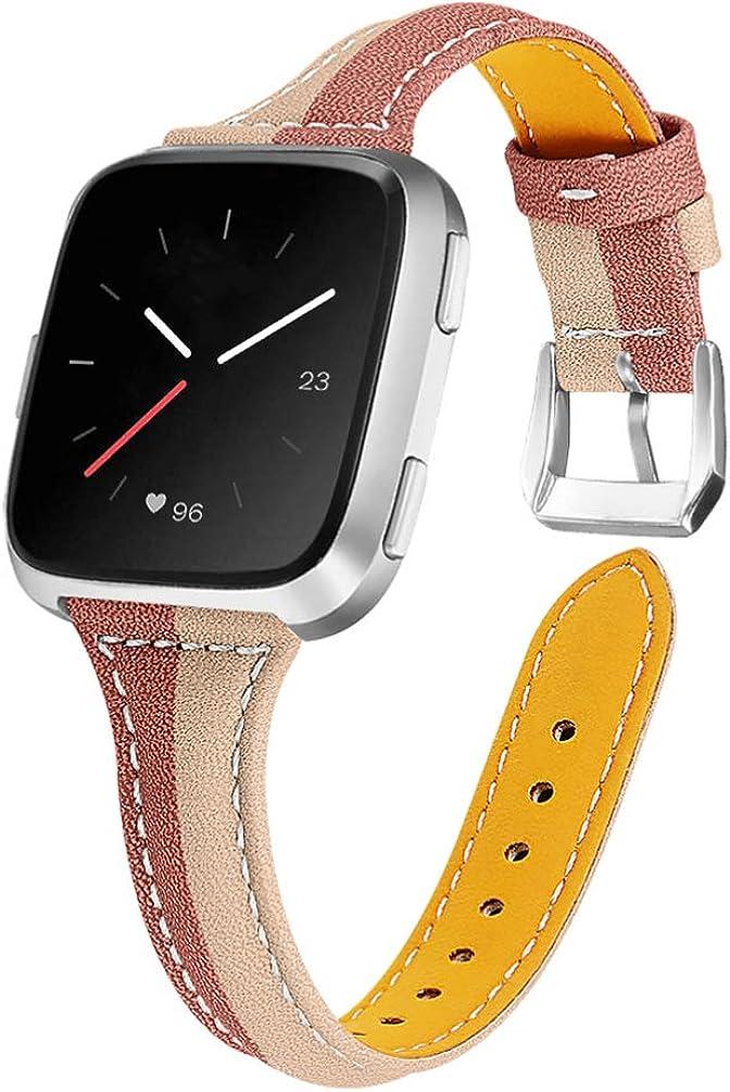 UKCOCO Bracelet de Montre Compatible pour Fitbit Versa/Fitbit Lite/Fitbit Versa 2 Cuir - Bracelet de Montre de Rechange pour Homme Femme (café avec Marron) Abricot Léger avec Brown
