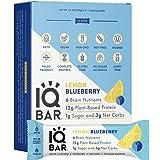 IQBAR Brain + Body Protein Bars, Lemon Blueberry, Keto, Vegan, Paleo Friendly, Low Sugar, Low Net Carb, High Fiber…