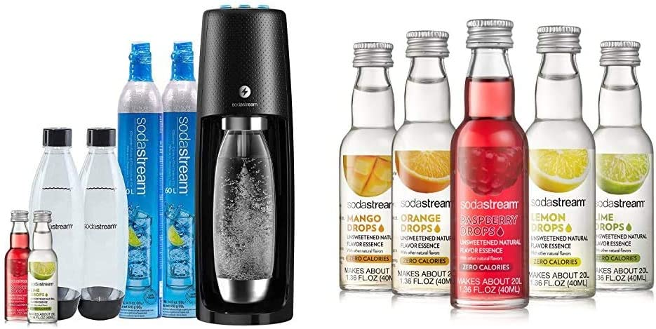 SodaStream Fizzi One Touch Sparkling Water Maker Bundle (Black) with CO2, BPA free Bottles, and 0 Calorie Fruit Drops Flavors & Fruit Drops Variety Pack, 1.67 Pound