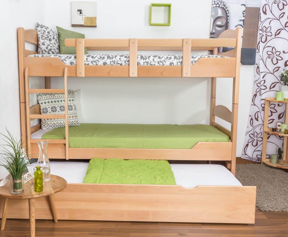 Stockbett mit Bettkasten Easy Sleep K13/h inkl. Liegeplatz und 2 Abdeckblenden, Kopf- und Fußteil gerundet, Buche Vollholz massiv Natur - Maße: 90 x 200 cm, teilbar